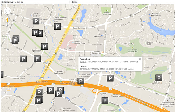 Google Map integration in Salesforce showing property locations